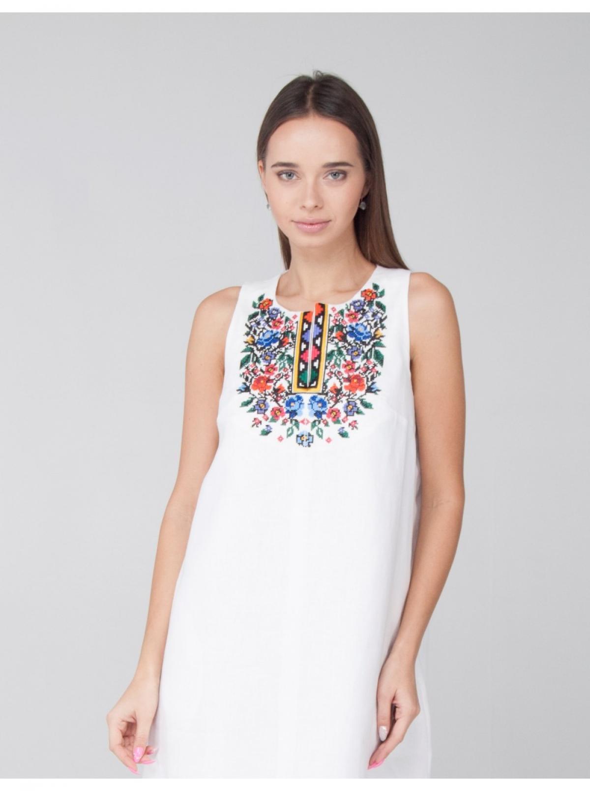 Lightweight white linen dress with embroidery. Photo №2. | Narodnyi dim Ukraine