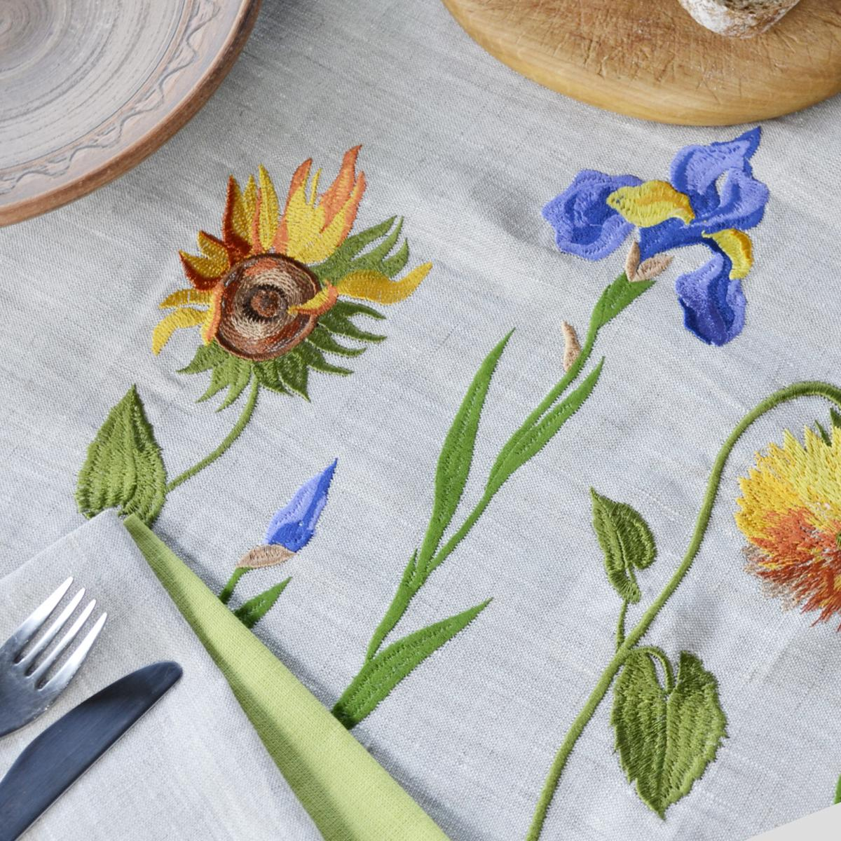 "Embroidered  ranner for the table ""Sunflowers Van Gogh"" 140x45 cm. Photo №2. 