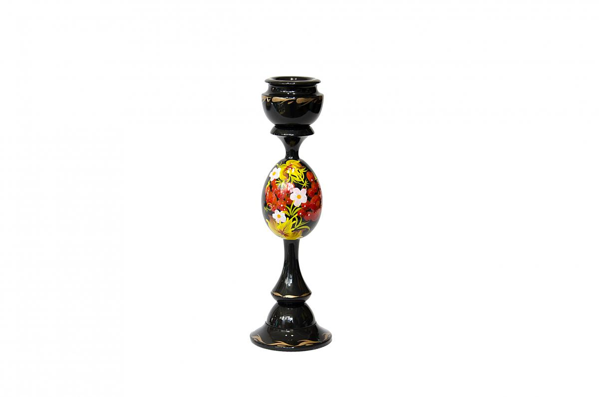 Candlestick on a leg with Petrikivskiy painting.