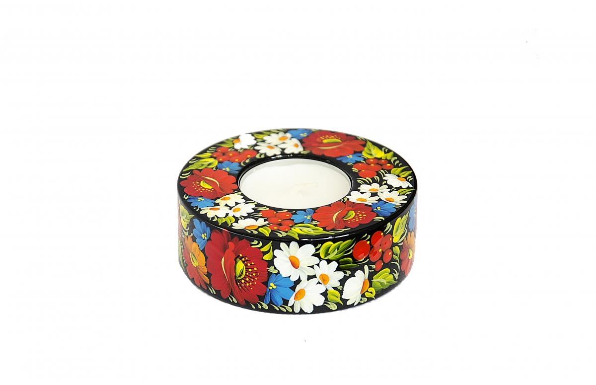 Round candle holder with a national color pattern (in assortment). Photo №1. | Narodnyi dim Ukraine