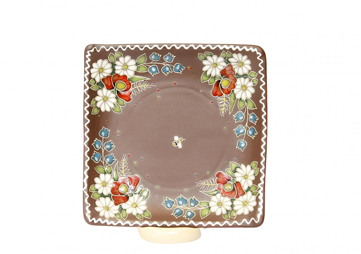 Square plate in ethnic style. Photo №1. | Narodnyi dim Ukraine