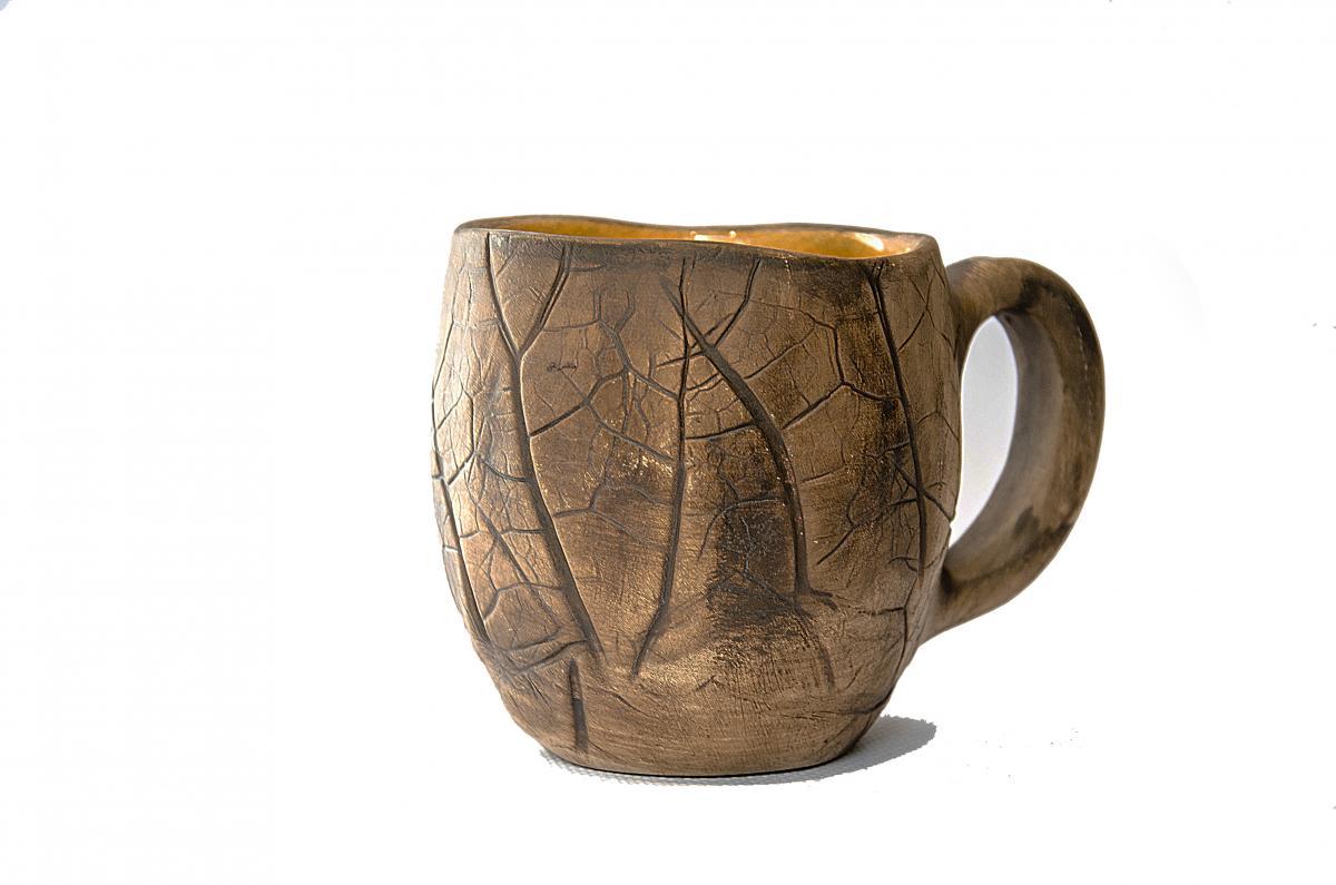 Чашка с отпечатками настоящих растений. Фото №1. | Народный дом Украина