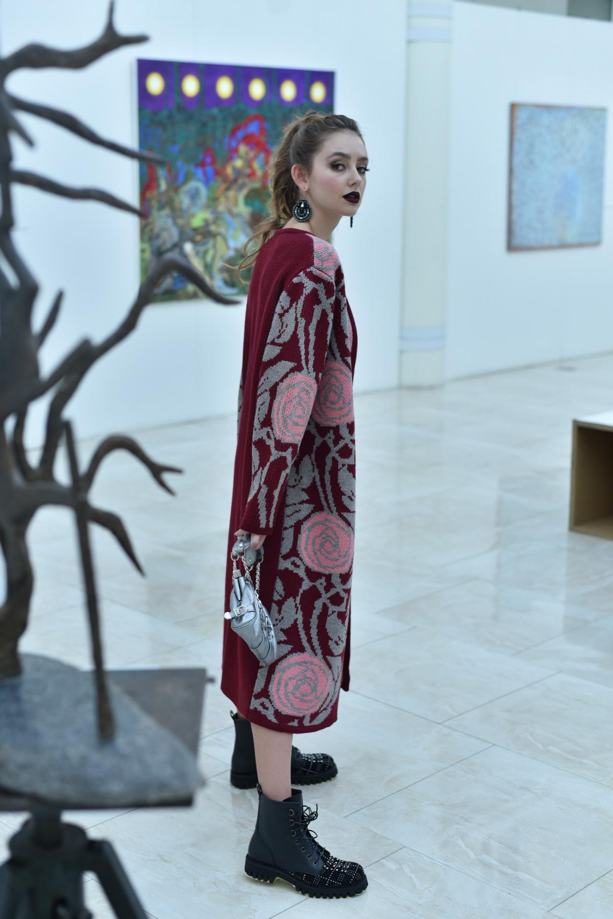 Cardigan knitted burgundy. Photo №2. | Narodnyi dim Ukraine