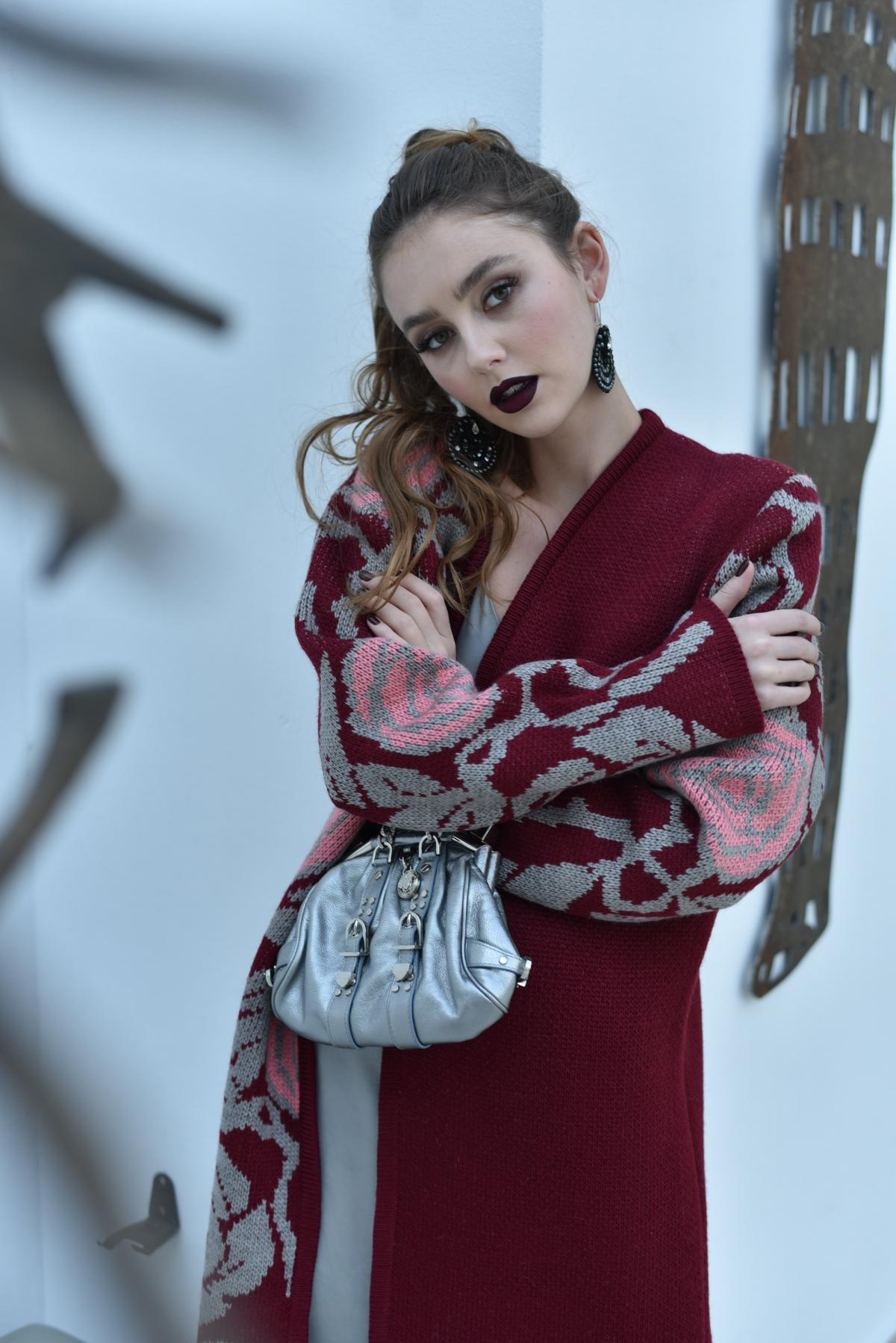 Cardigan knitted burgundy. Photo №4. | Narodnyi dim Ukraine