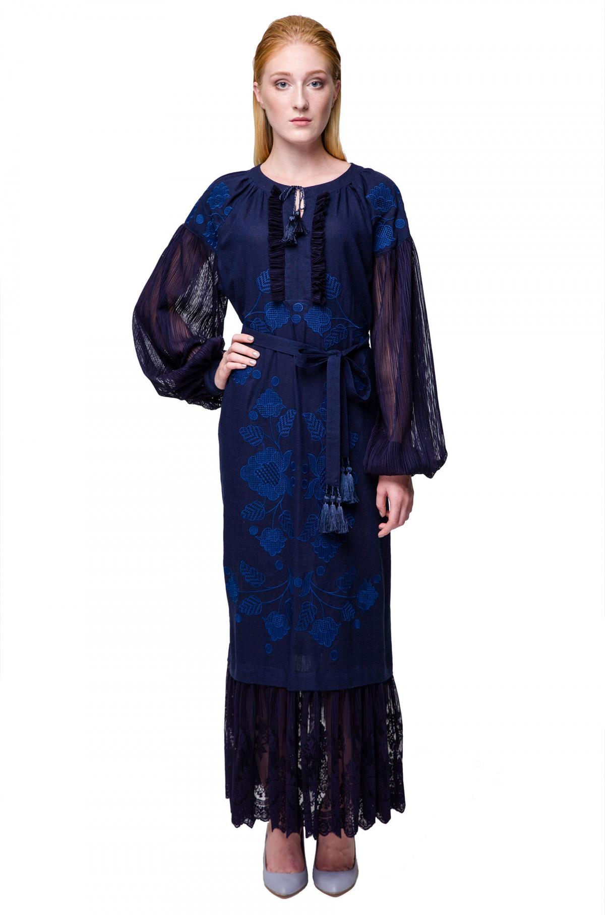 Dark blue embroidered dress. Photo №1. | Narodnyi dim Ukraine