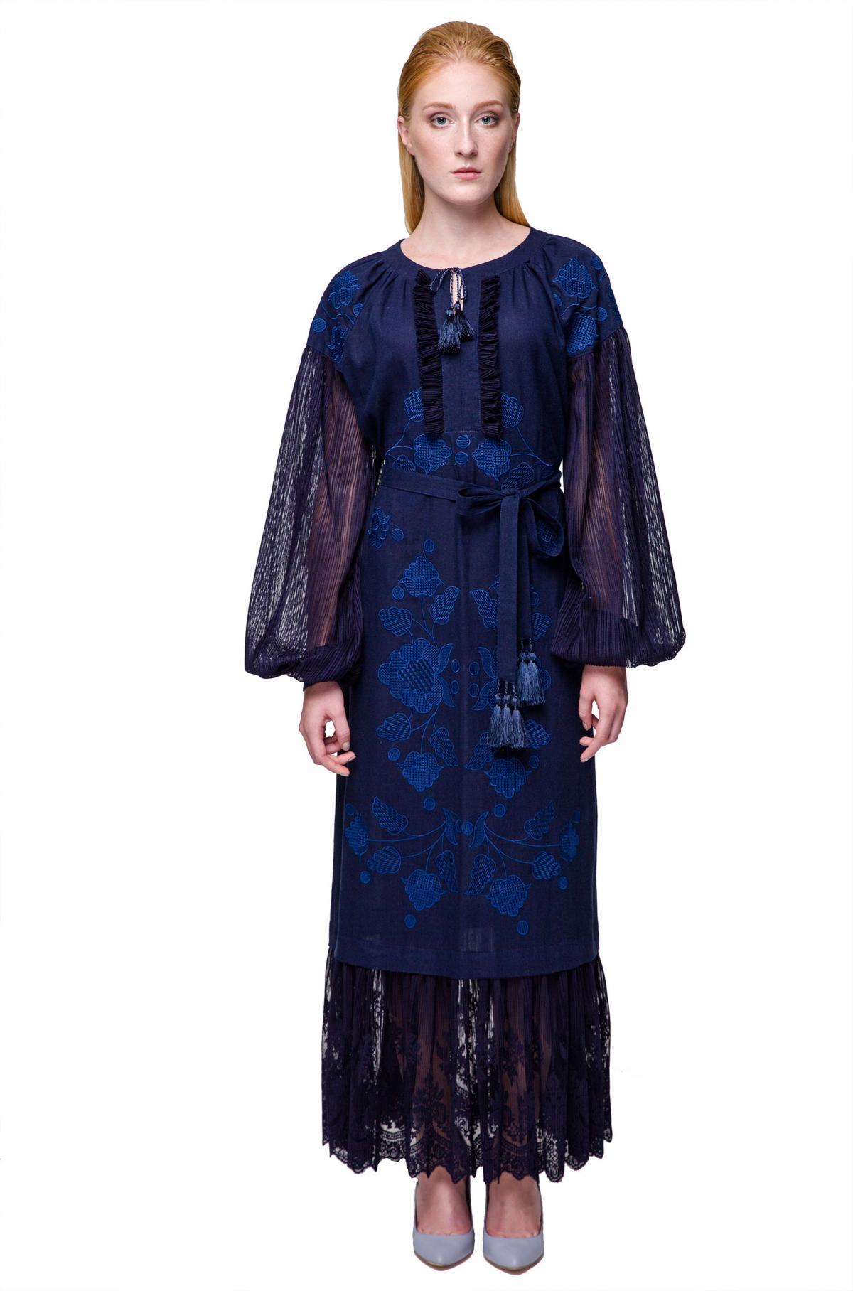 Dark blue embroidered dress. Photo №4. | Narodnyi dim Ukraine