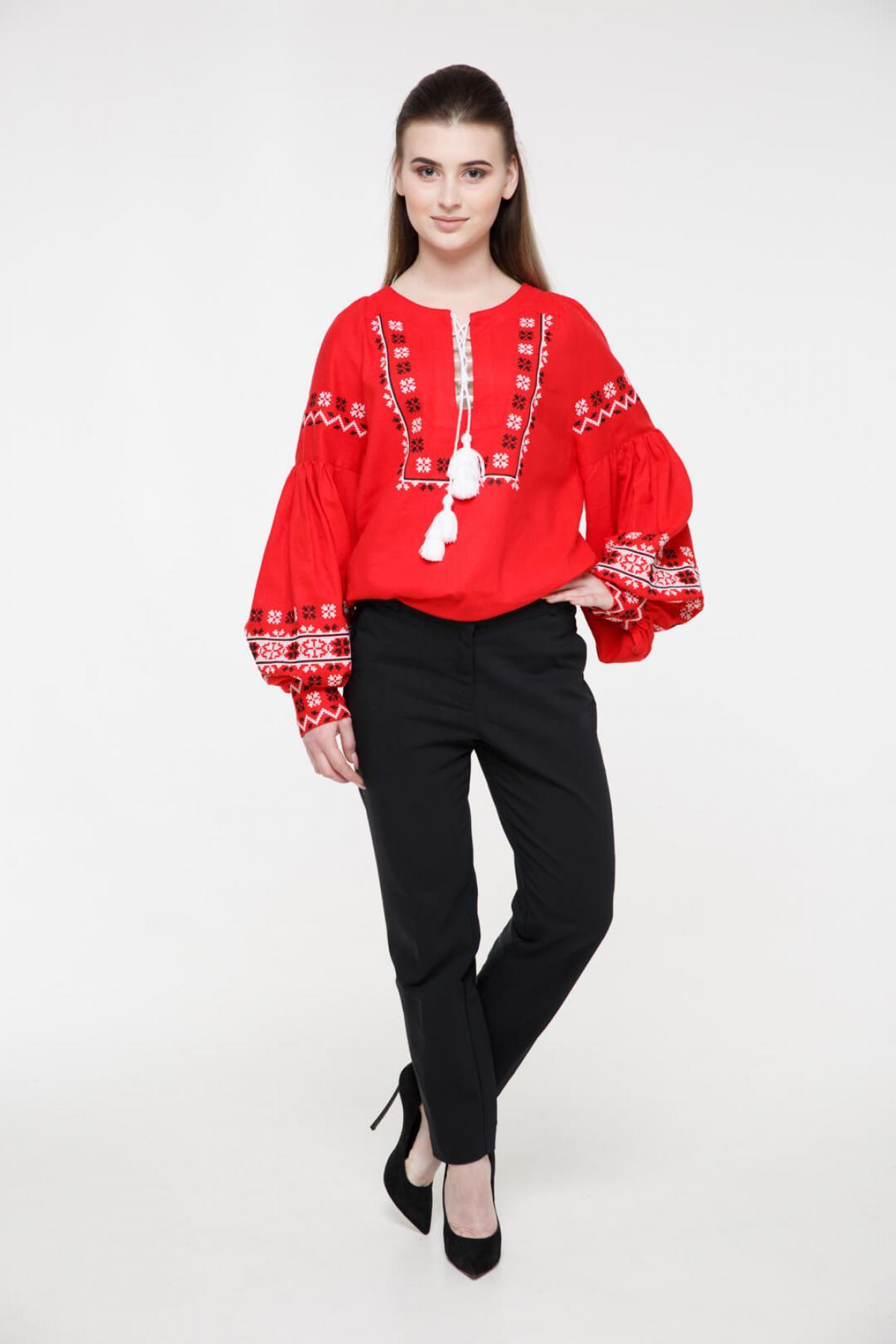 Рубашка вышитая «Наследство» красная. Фото №1. | Народный дом Украина