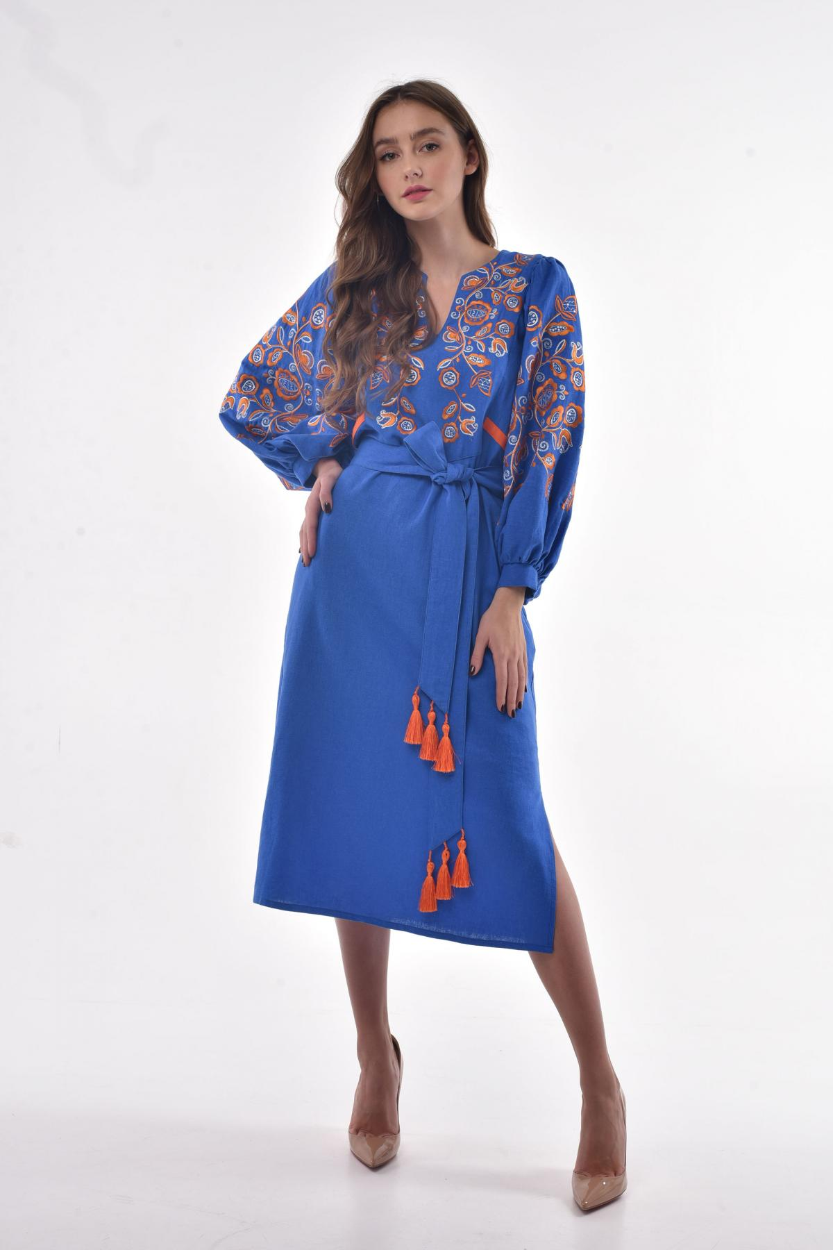 Blue embroidered dress. Photo №1. | Narodnyi dim Ukraine