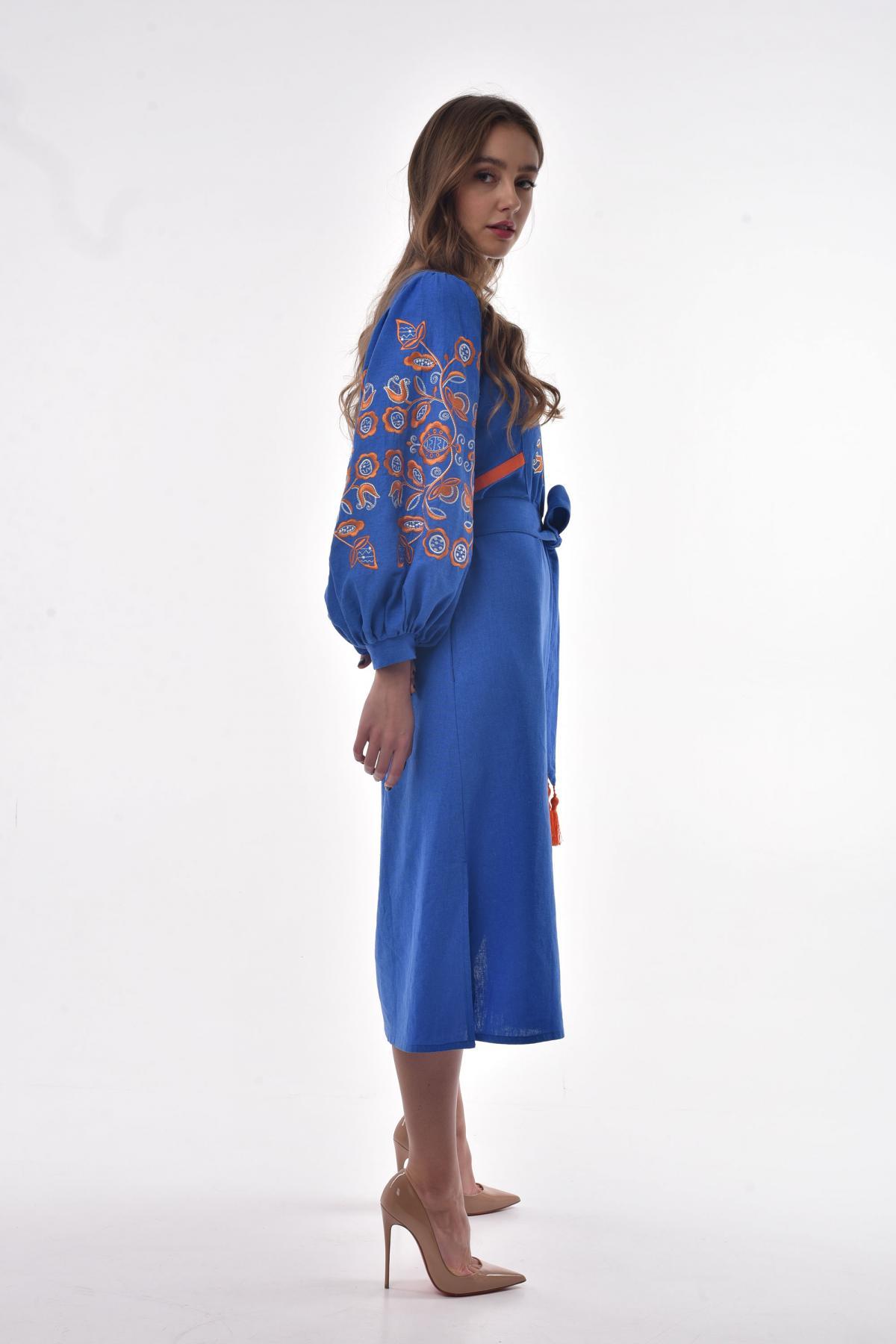 Сукня вишита «Знахідка» волошкова. Фото №2. | Народний дім Україна