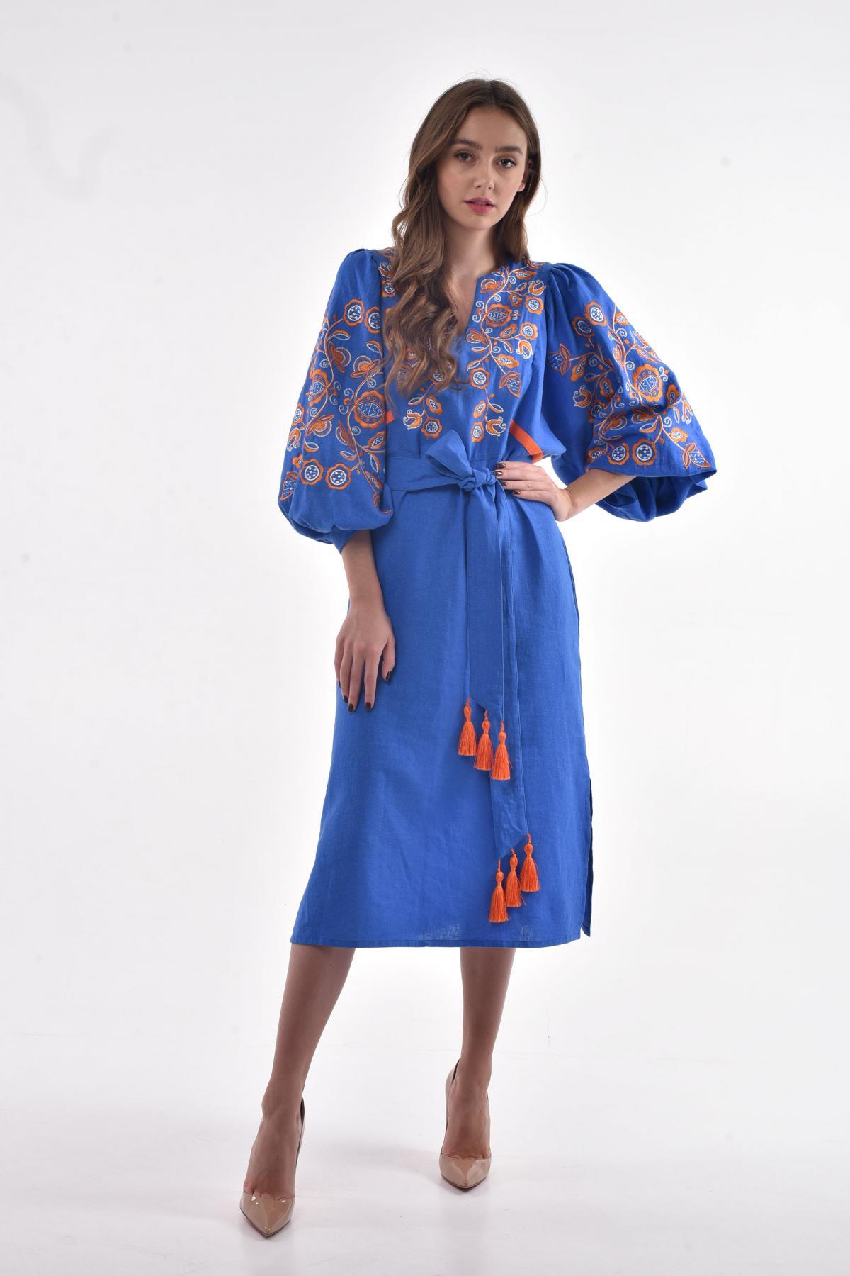 Blue embroidered dress. Photo №3. | Narodnyi dim Ukraine
