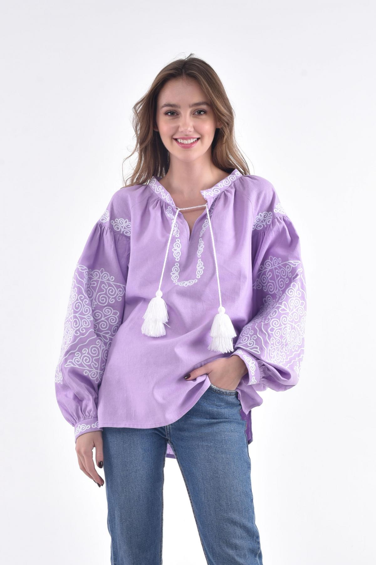 Linen soft embroidered shirt in lavender color. Photo №1. | Narodnyi dim Ukraine