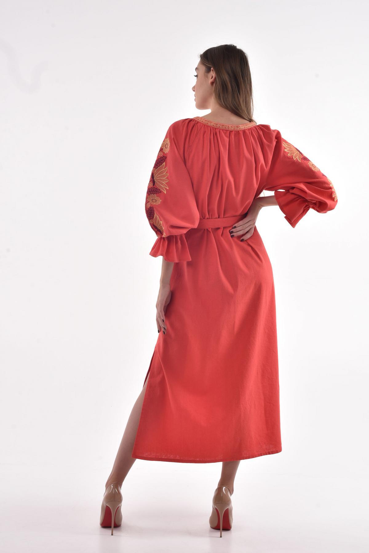 "Coral embroidered dress ""Muse"". Photo №2. | Narodnyi dim Ukraine"
