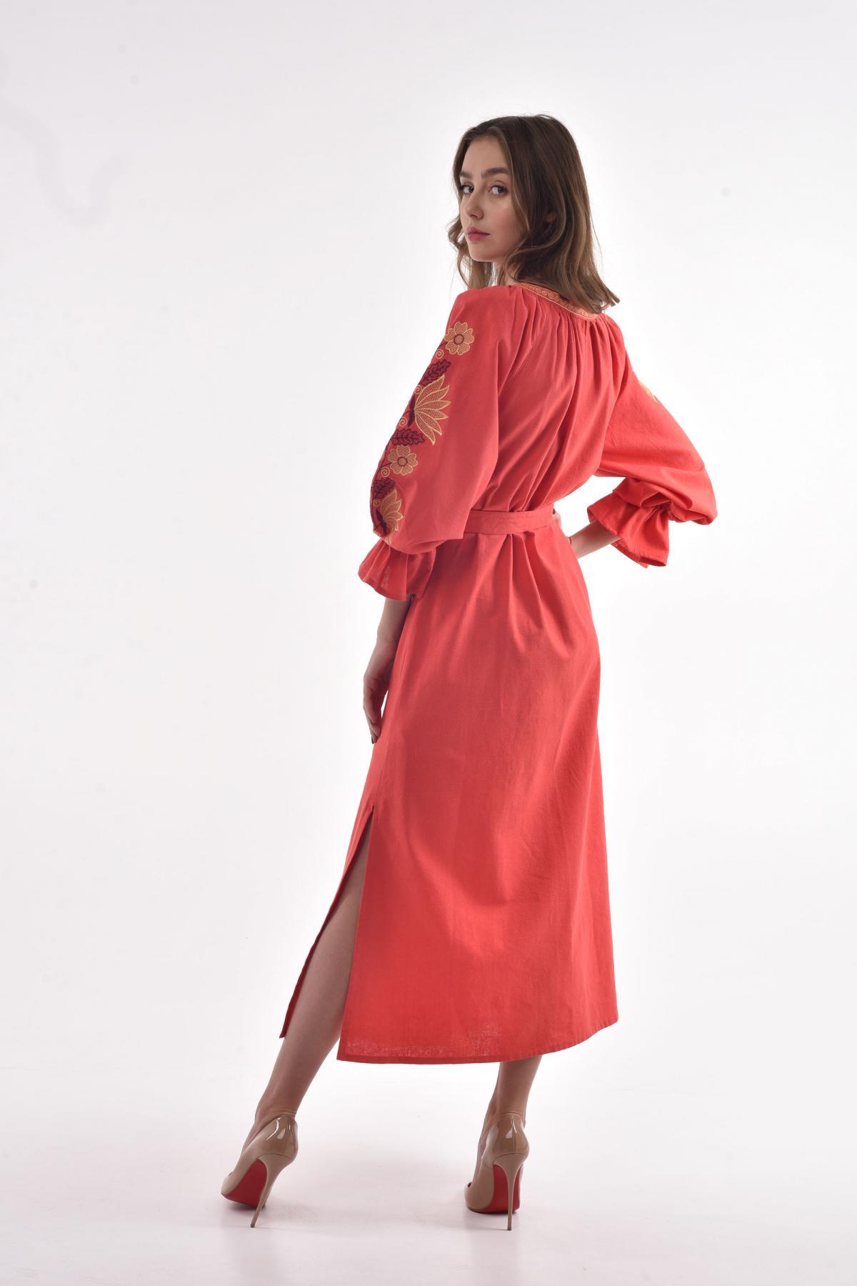 "Coral embroidered dress ""Muse"". Photo №3. | Narodnyi dim Ukraine"