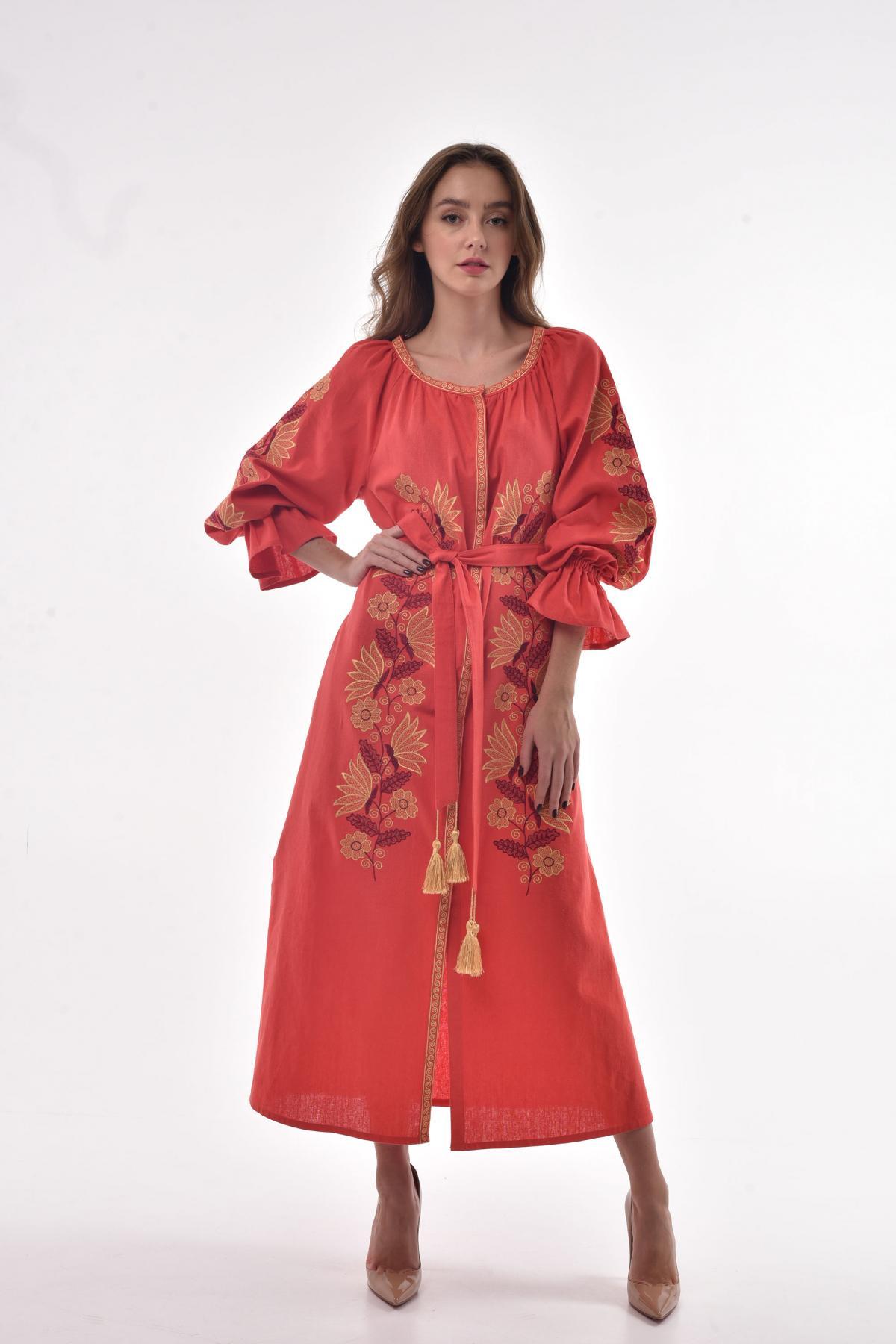 "Coral embroidered dress ""Muse"". Photo №1. | Narodnyi dim Ukraine"
