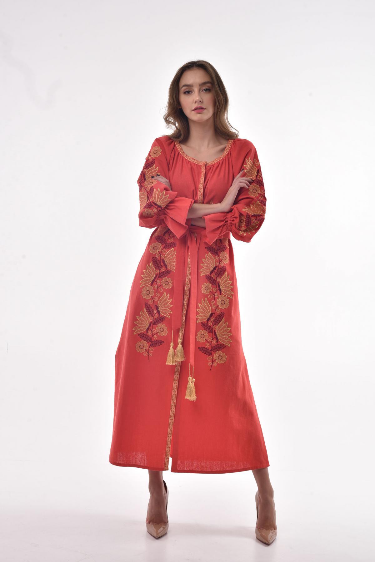 "Coral embroidered dress ""Muse"". Photo №4. | Narodnyi dim Ukraine"