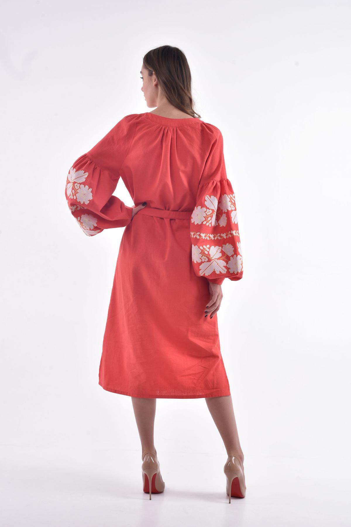 Платье вышитое «Невесточка» коралл. Фото №2. | Народный дом Украина