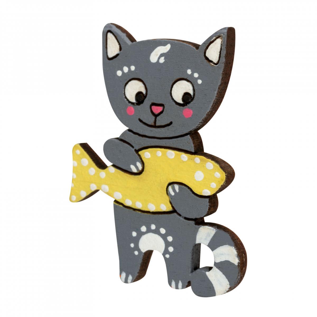 Значок кіт з рибкою. Фото №2. | Народний дім Україна