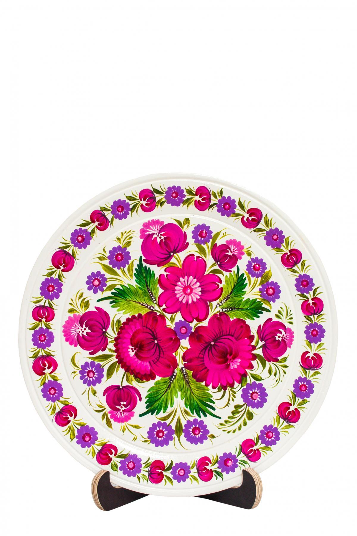 Деревянная тарелка с цветочным Самчыкивской росписью. Фото №1. | Народный дом Украина