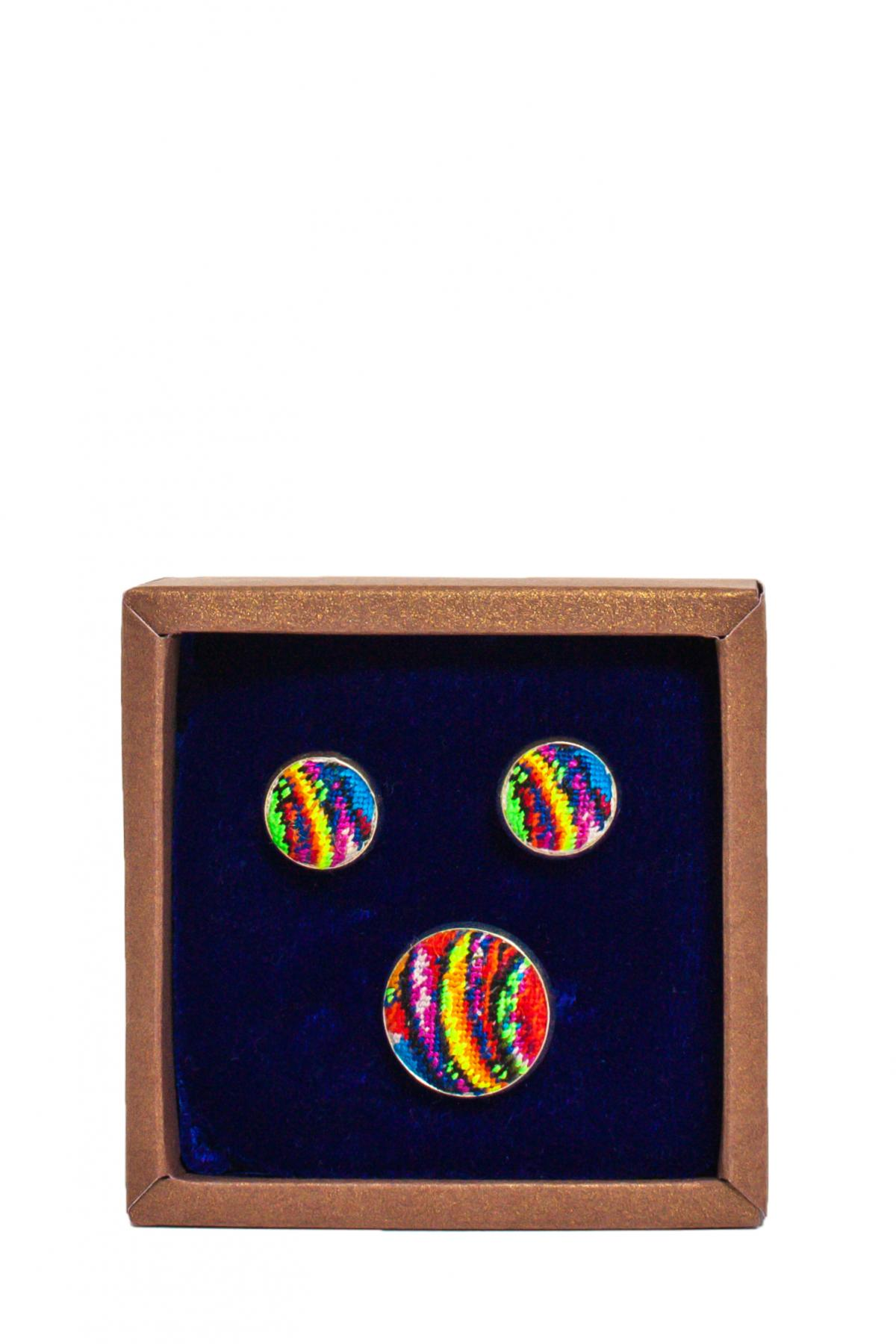 Набор Кольцо и серьги с красочной микровишивкой. Фото №1. | Народный дом Украина