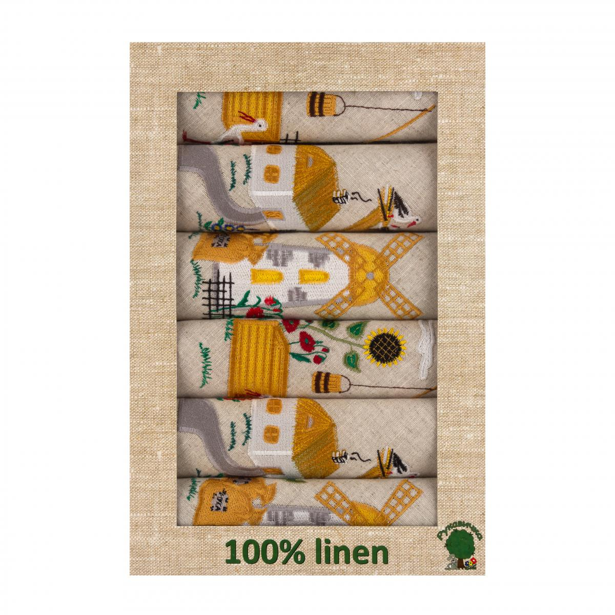 A set of linen napkins with embroidered huts