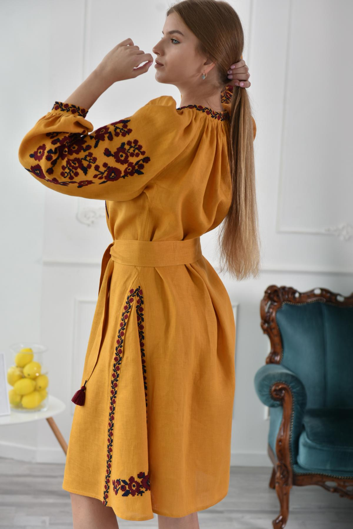 Dress-vyshyvanka of mustard color. Photo №2. | Narodnyi dim Ukraine