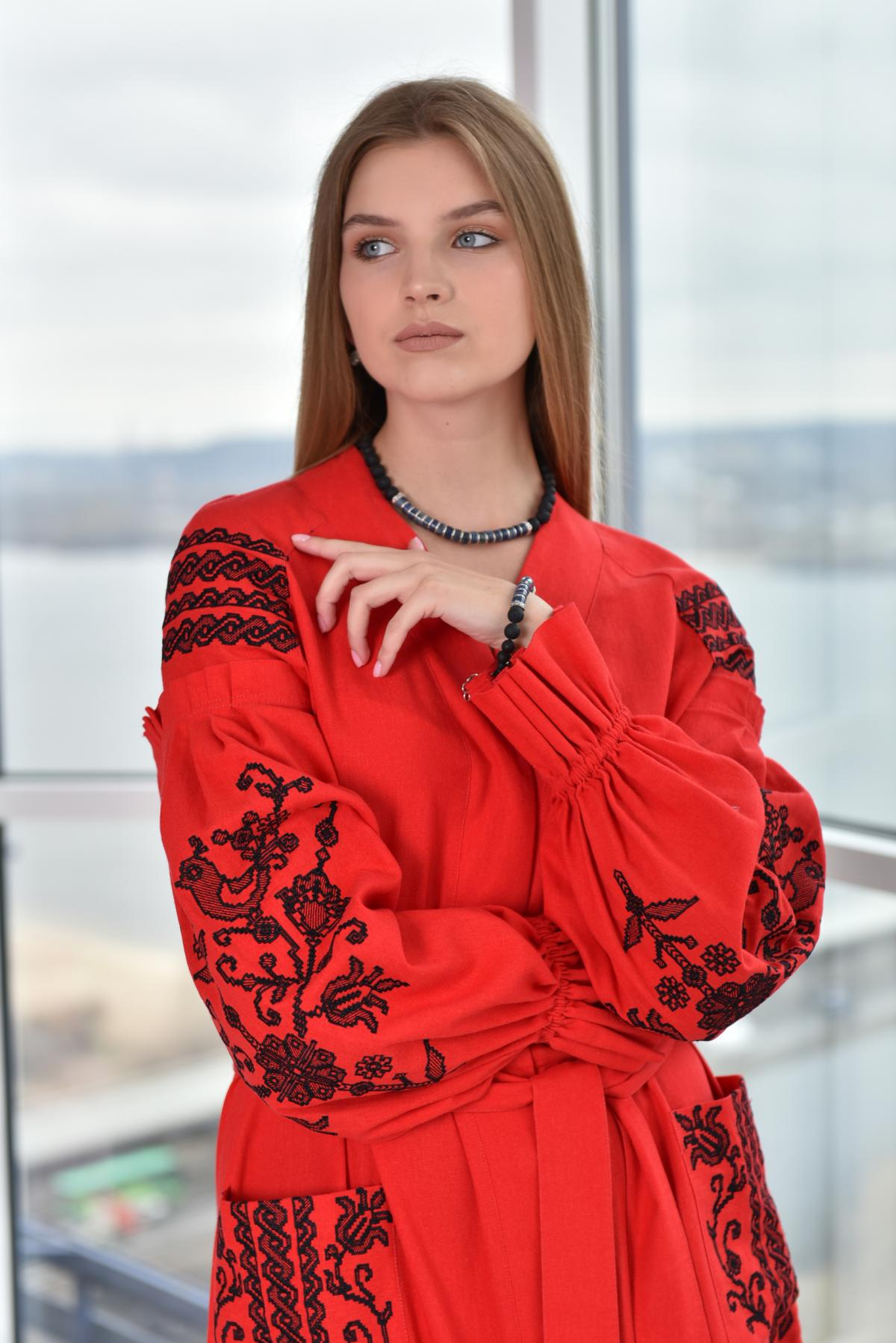 Red long embroidered dress. Photo №4. | Narodnyi dim Ukraine