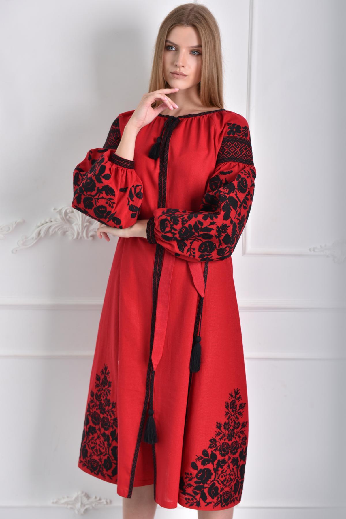 Red dress with black embroidery. Photo №2. | Narodnyi dim Ukraine