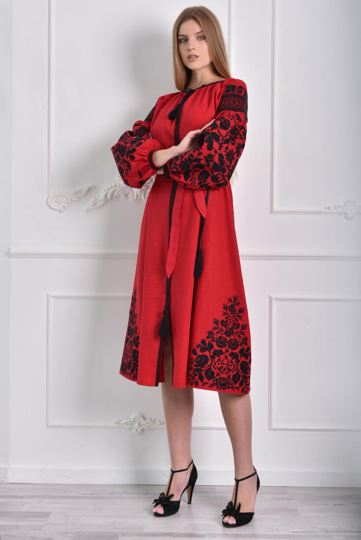 Red dress with black embroidery. Photo №3. | Narodnyi dim Ukraine