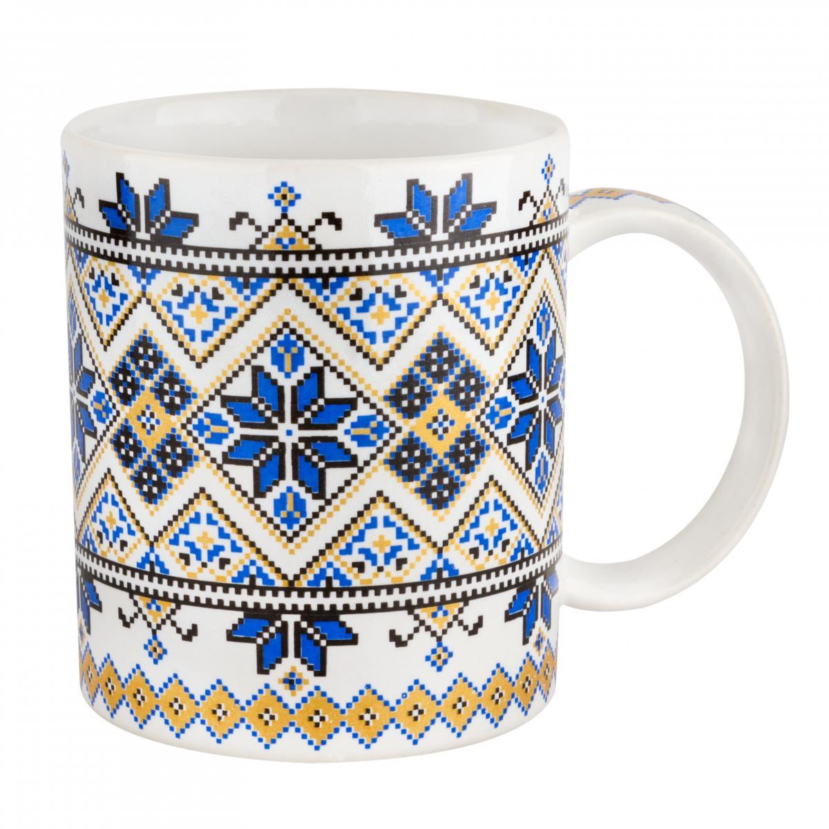 Чашка с украинским желто-синим узором