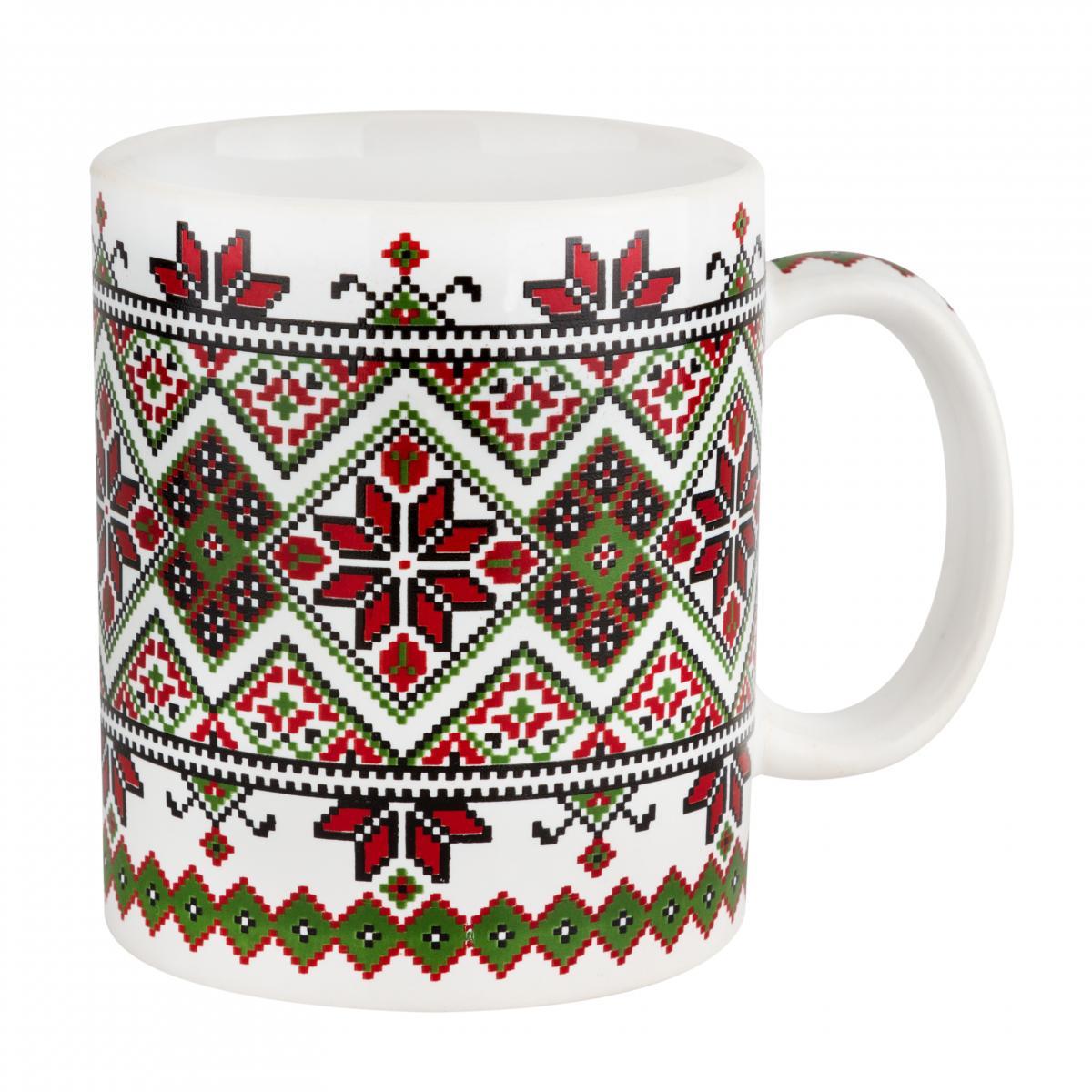 Чашка с красно-зеленым узором