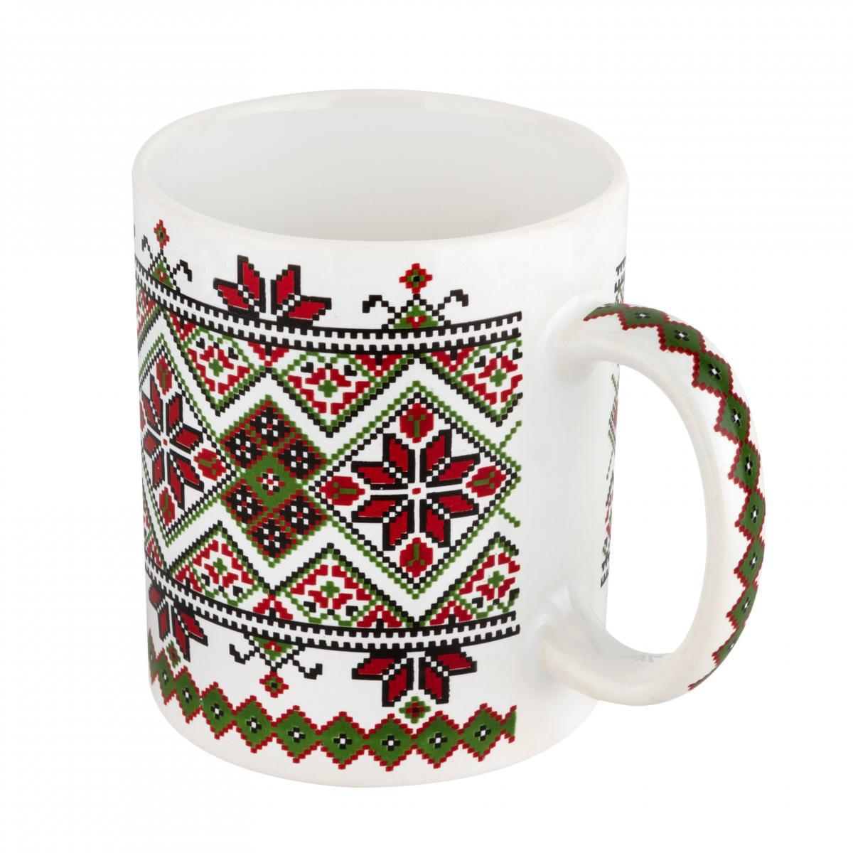 Чашка с красно-зеленым узором. Фото №2.   Народный дом Украина