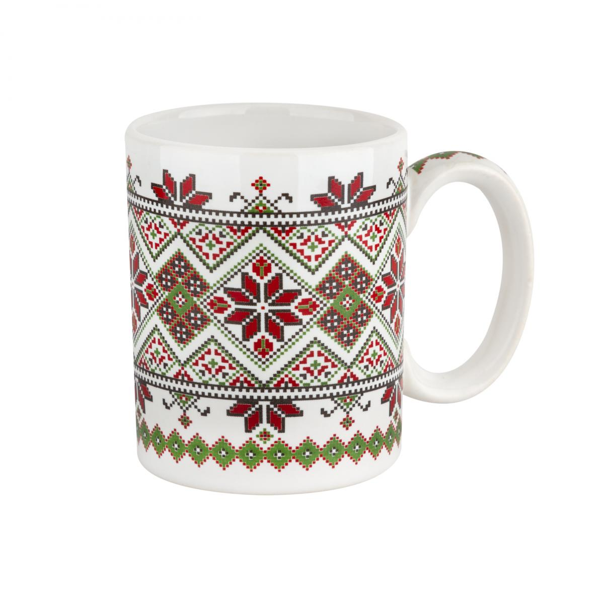 Cup with red-green pattern – 150 ml. Photo №1. | Narodnyi dim Ukraine