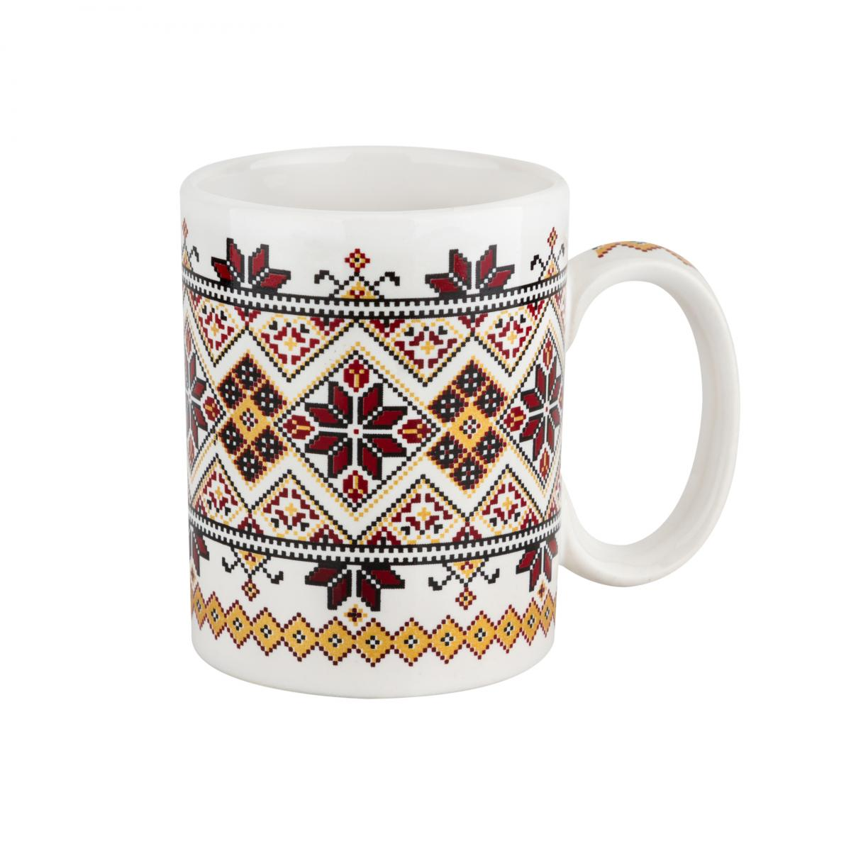 Cup with a red and yellow pattern – 150 ml. Photo №1. | Narodnyi dim Ukraine