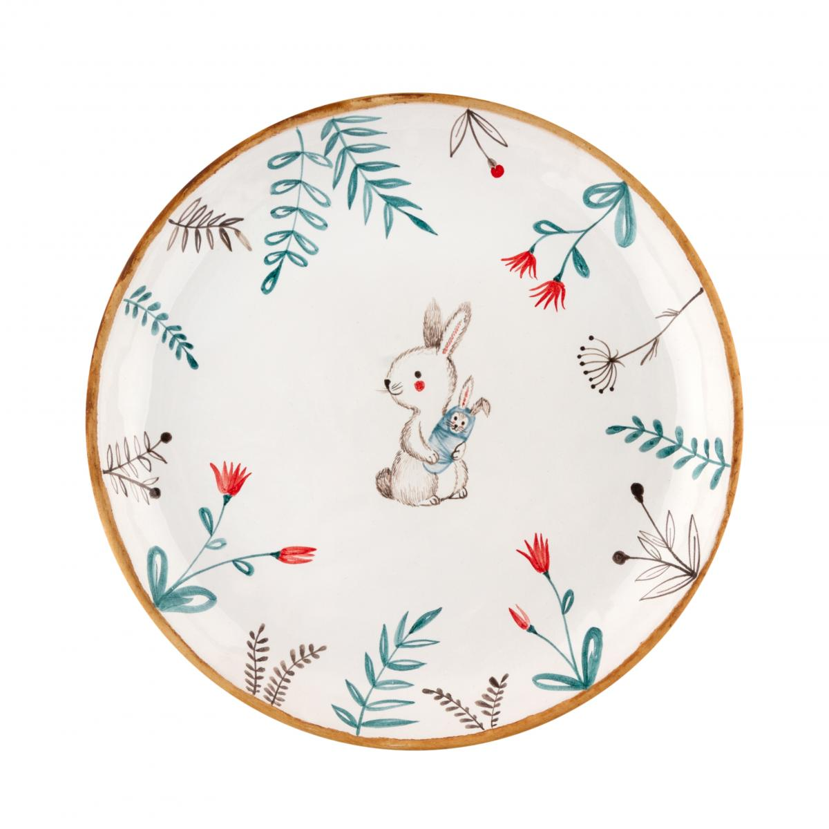 Plate with flowers and hare. Photo №1. | Narodnyi dim Ukraine