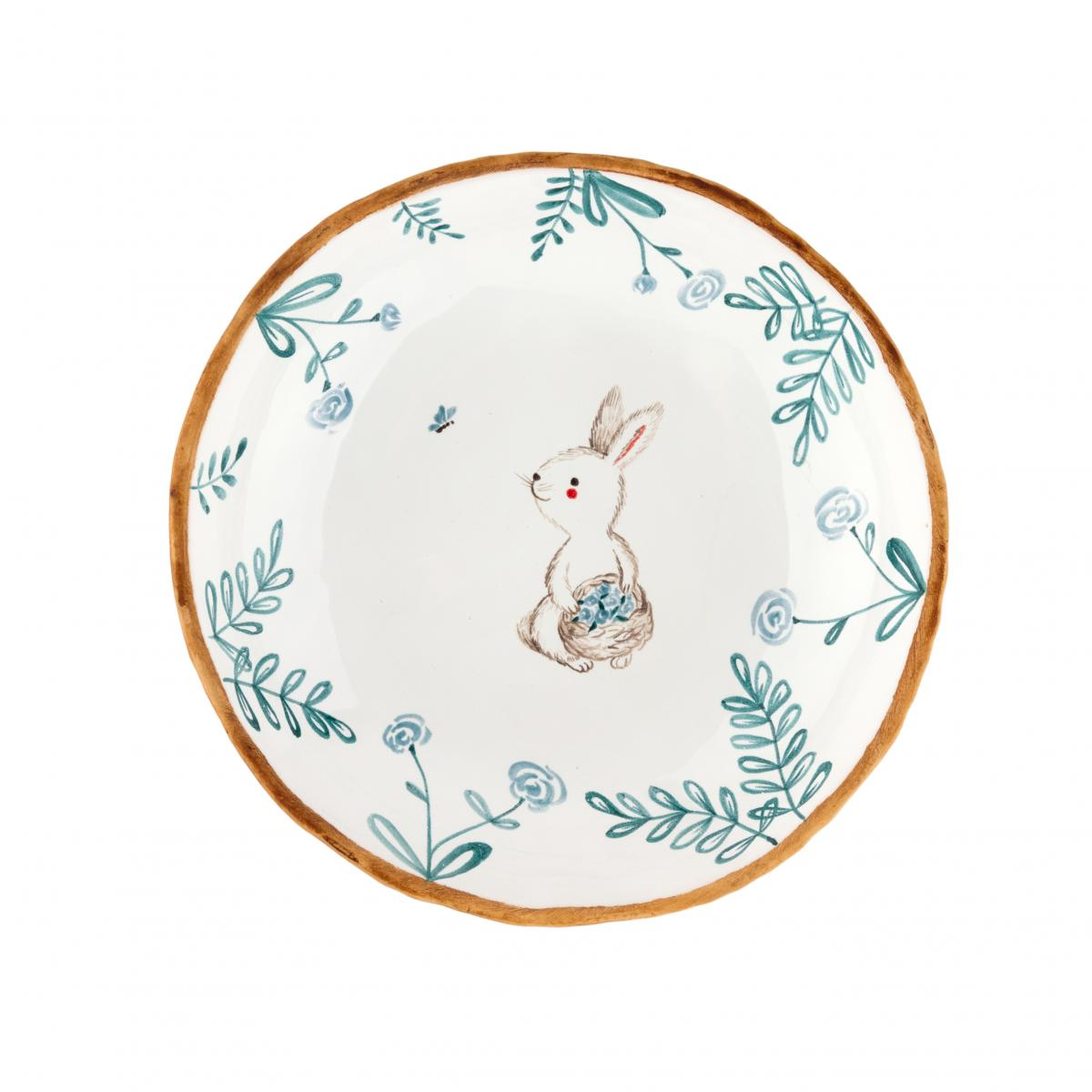Тарелка с зайцем с корзиной