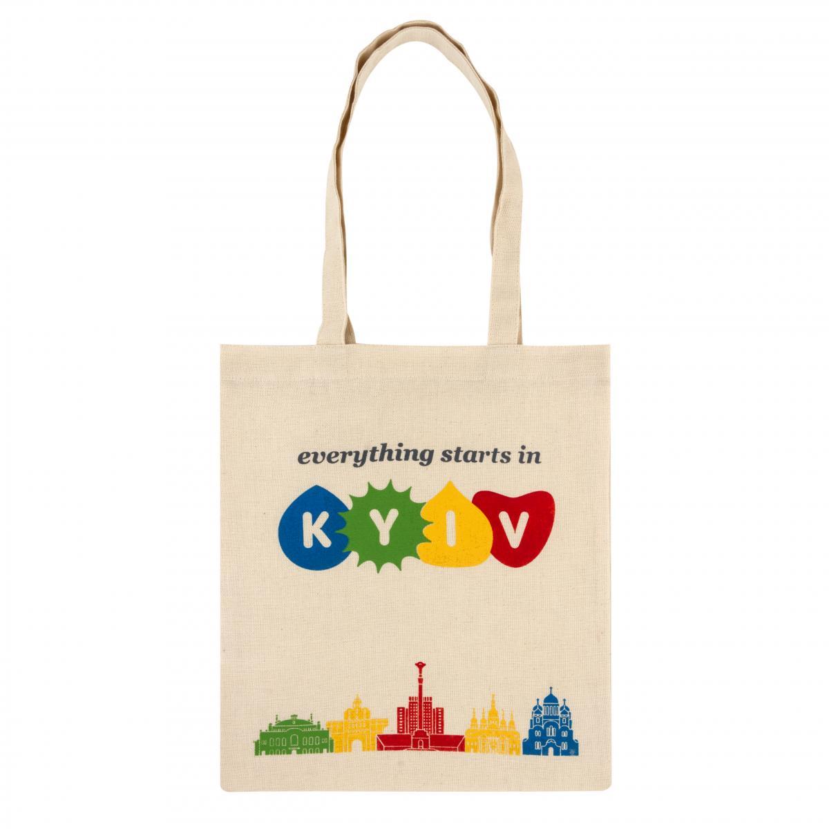 Светлая экосумка с надписью Everything starts in Kyiv. Фото №1. | Народный дом Украина