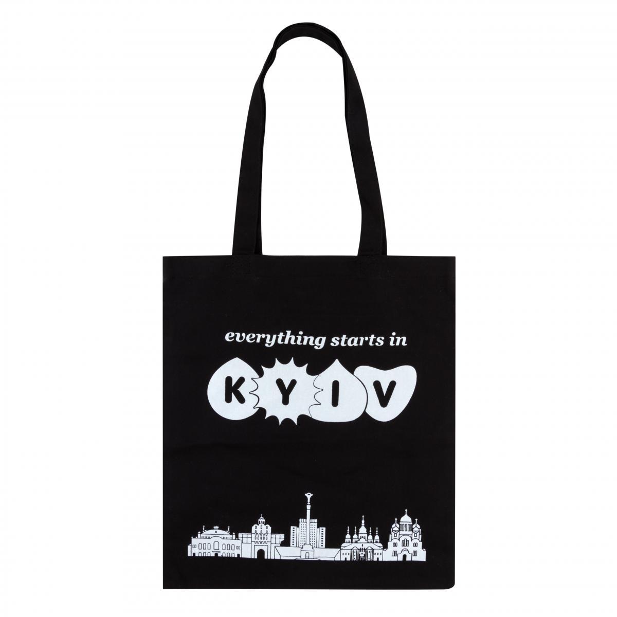 Черная экосумка с надписью Everything starts in Kyiv. Фото №1. | Народный дом Украина