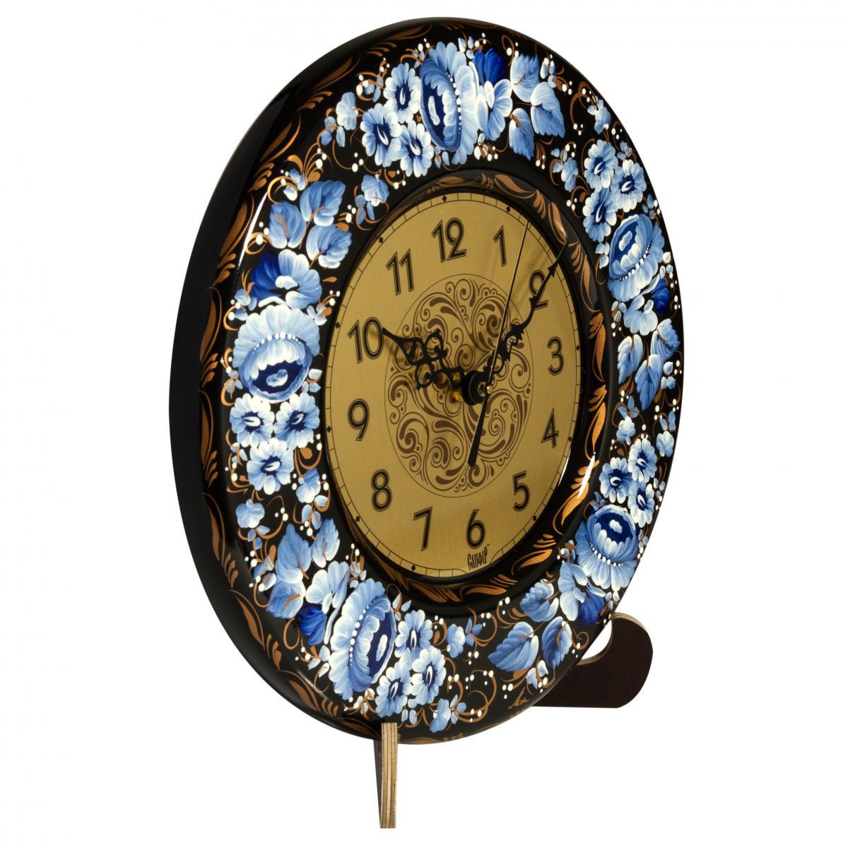 Clock with hand painted blue flowers. Photo №1. | Narodnyi dim Ukraine