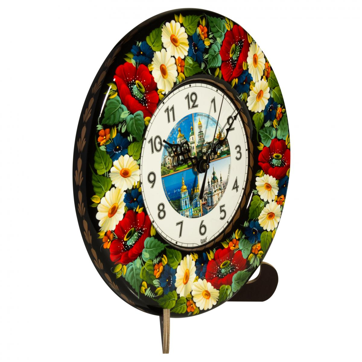 "Clock with hand painted pattern ""Kiev monuments collage"". Photo №1. 