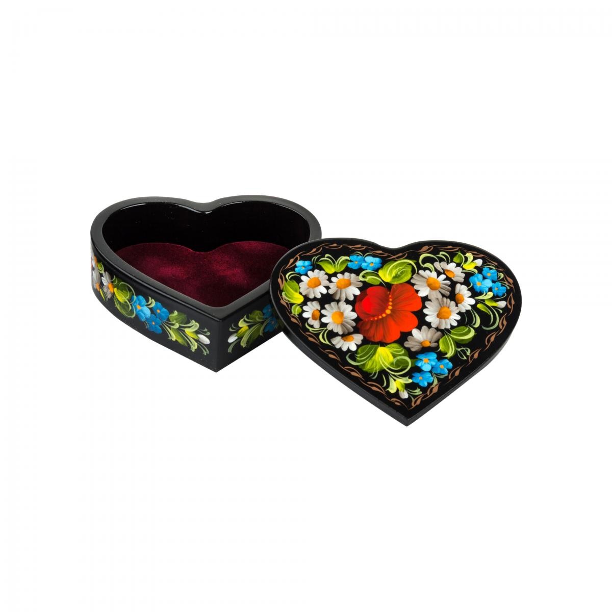 The casket Heart with a flower painting (small). Photo №1. | Narodnyi dim Ukraine