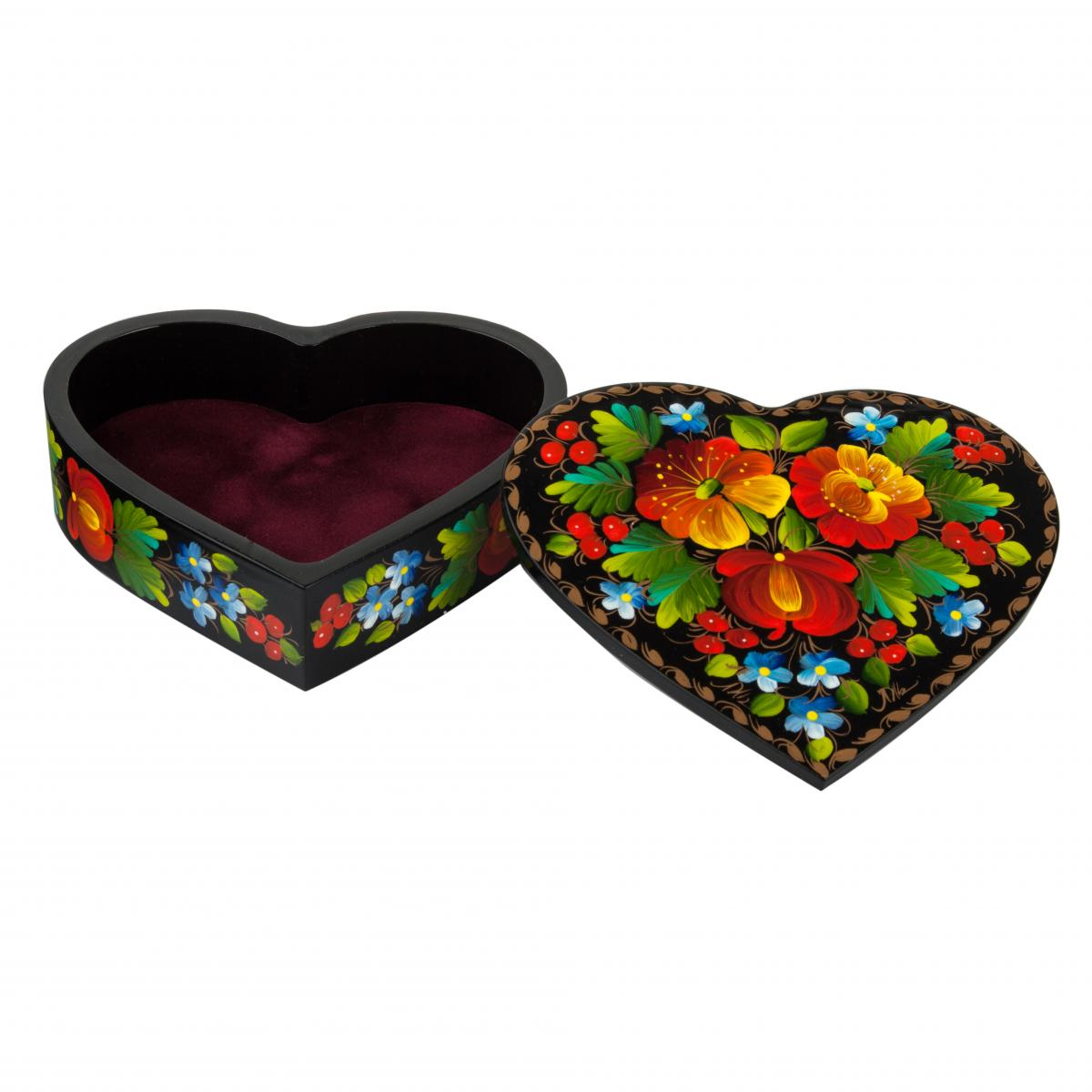 The casket Heart with a flower painting (large). Photo №1. | Narodnyi dim Ukraine