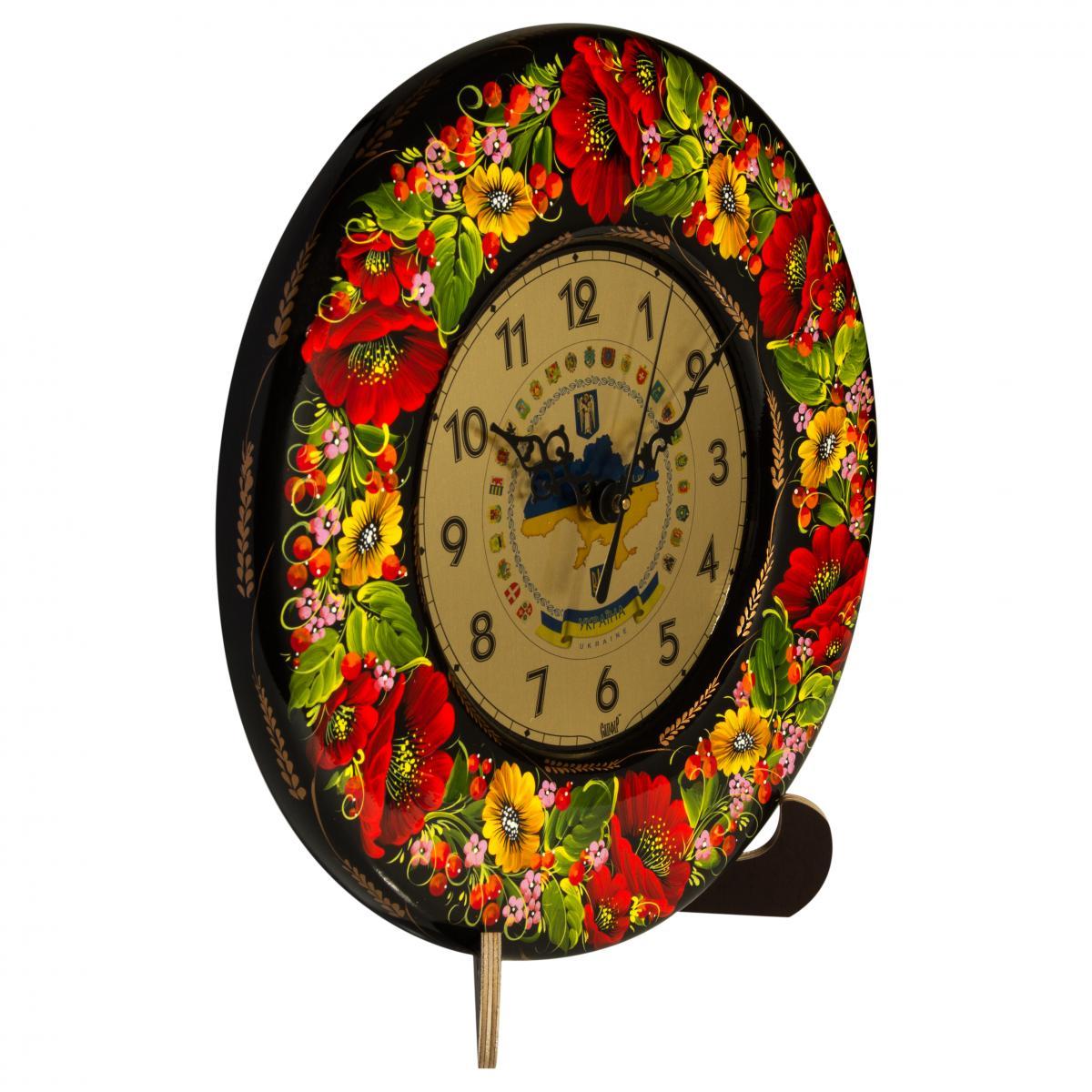 Clock with hand painted poppies. Photo №1. | Narodnyi dim Ukraine
