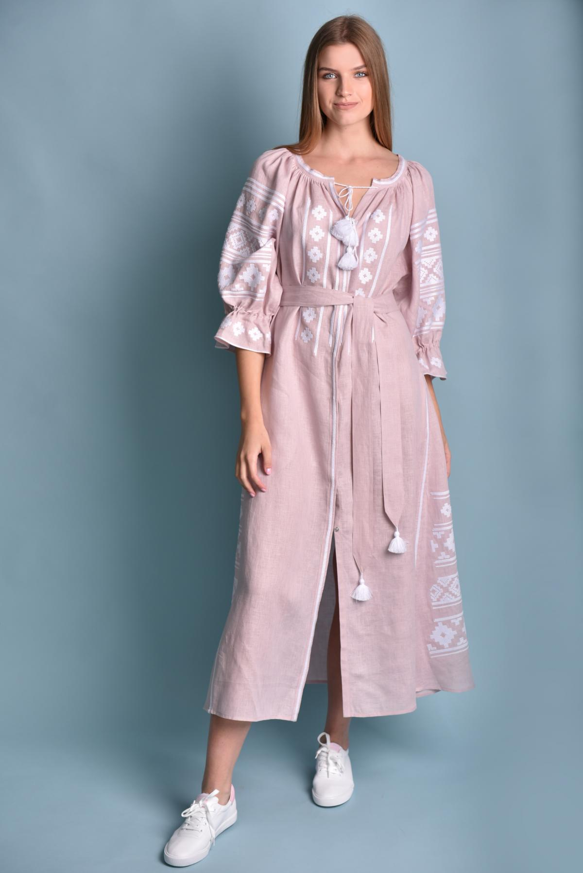 Gently pink long Linen embroidered dress. Photo №1. | Narodnyi dim Ukraine