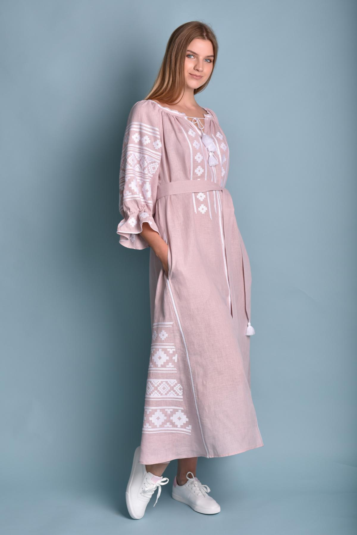 Gently pink long Linen embroidered dress. Photo №3. | Narodnyi dim Ukraine