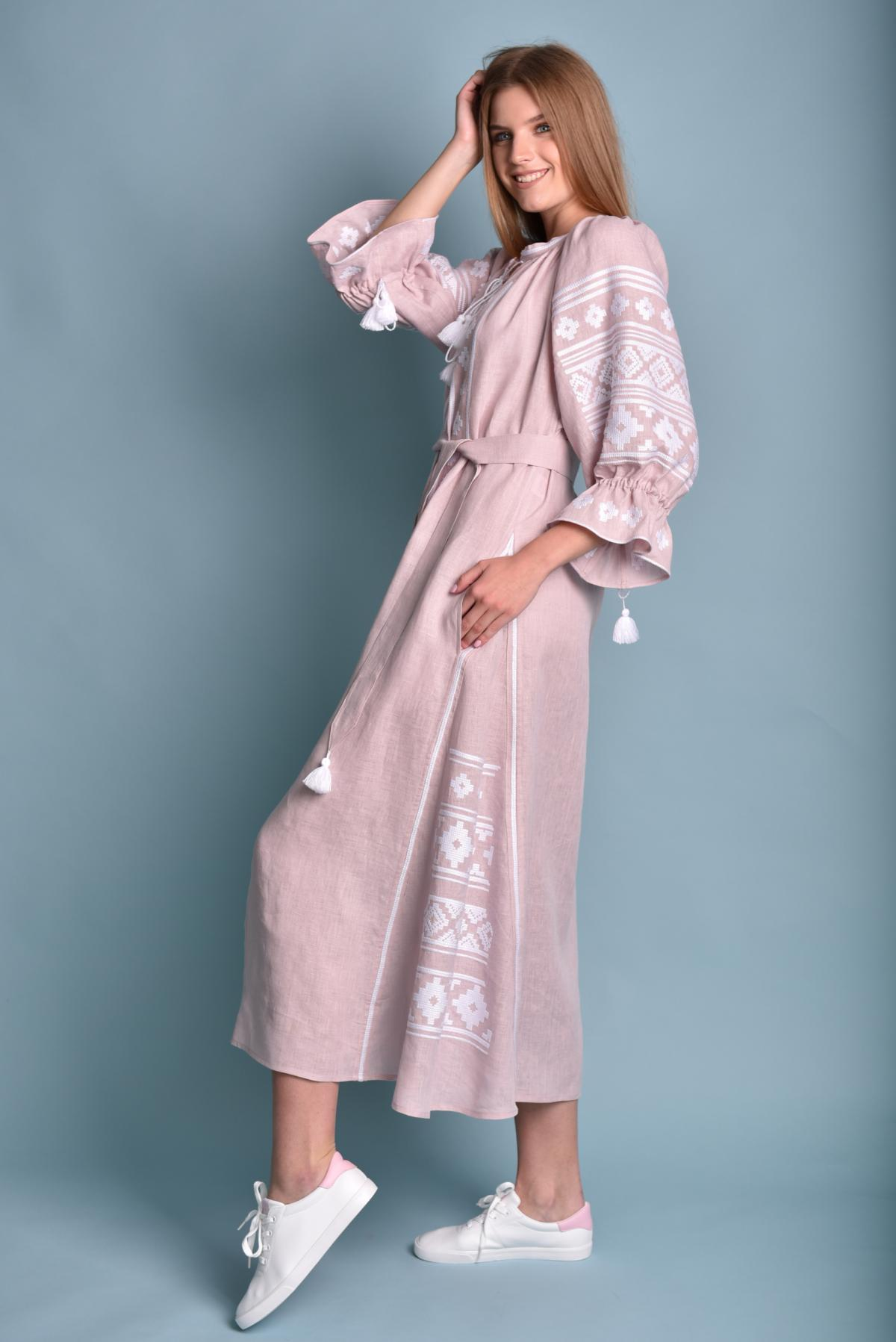 Gently pink long Linen embroidered dress. Photo №2. | Narodnyi dim Ukraine