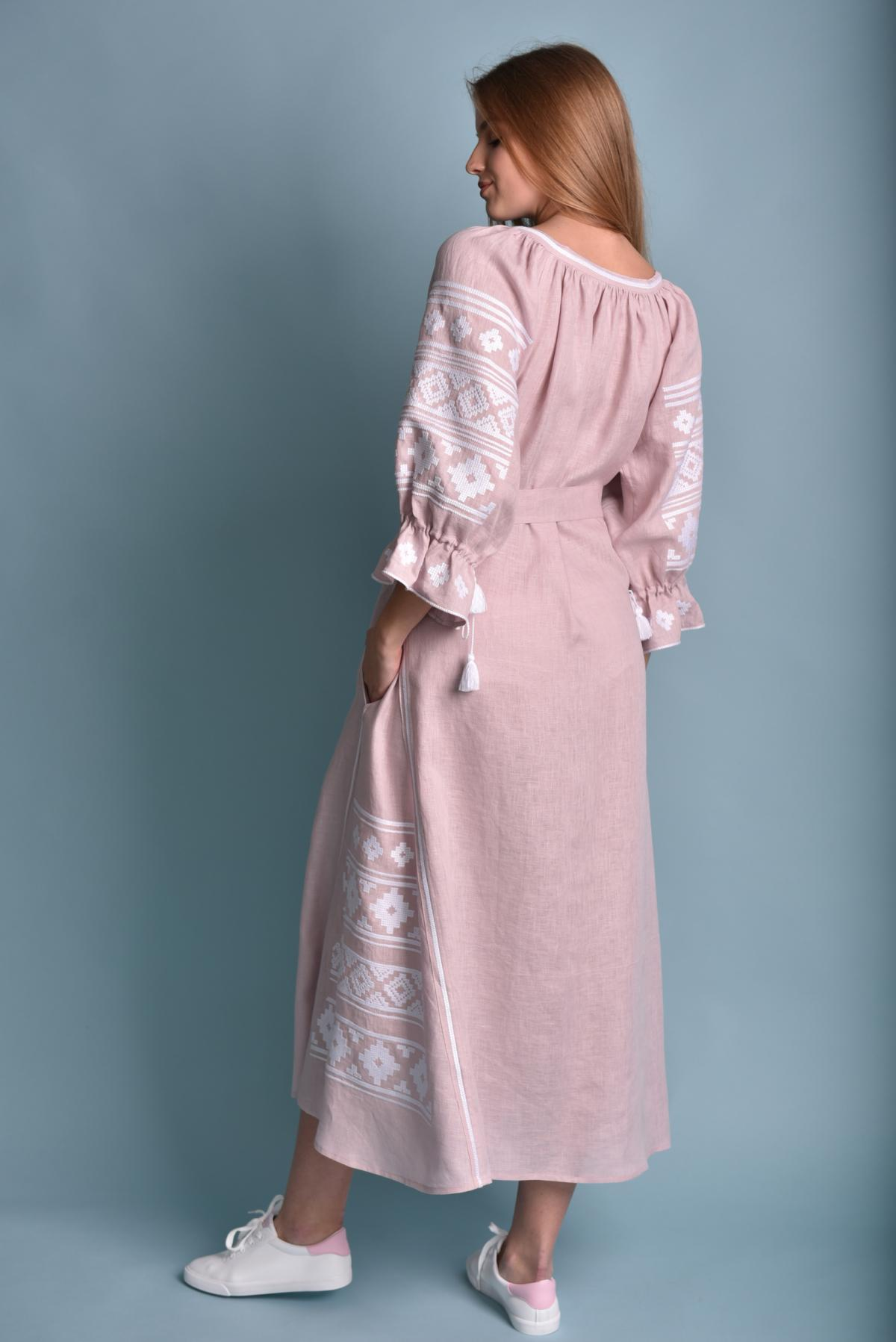 Gently pink long Linen embroidered dress. Photo №4. | Narodnyi dim Ukraine