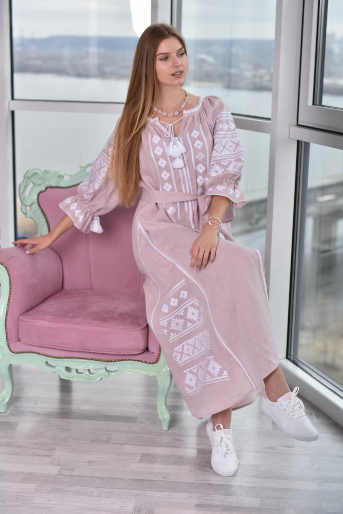 Gently pink long Linen embroidered dress. Photo №5. | Narodnyi dim Ukraine