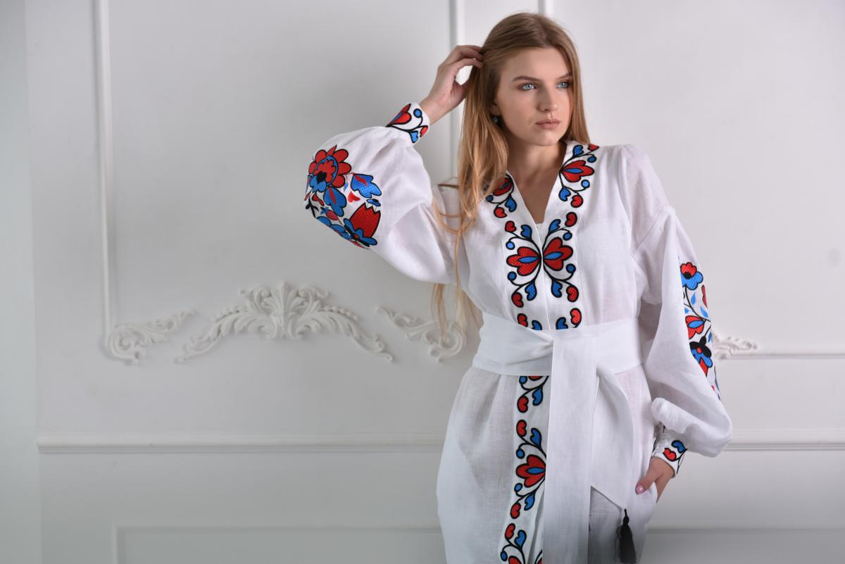 White linen embroidered dress with a blade. Photo №2. | Narodnyi dim Ukraine