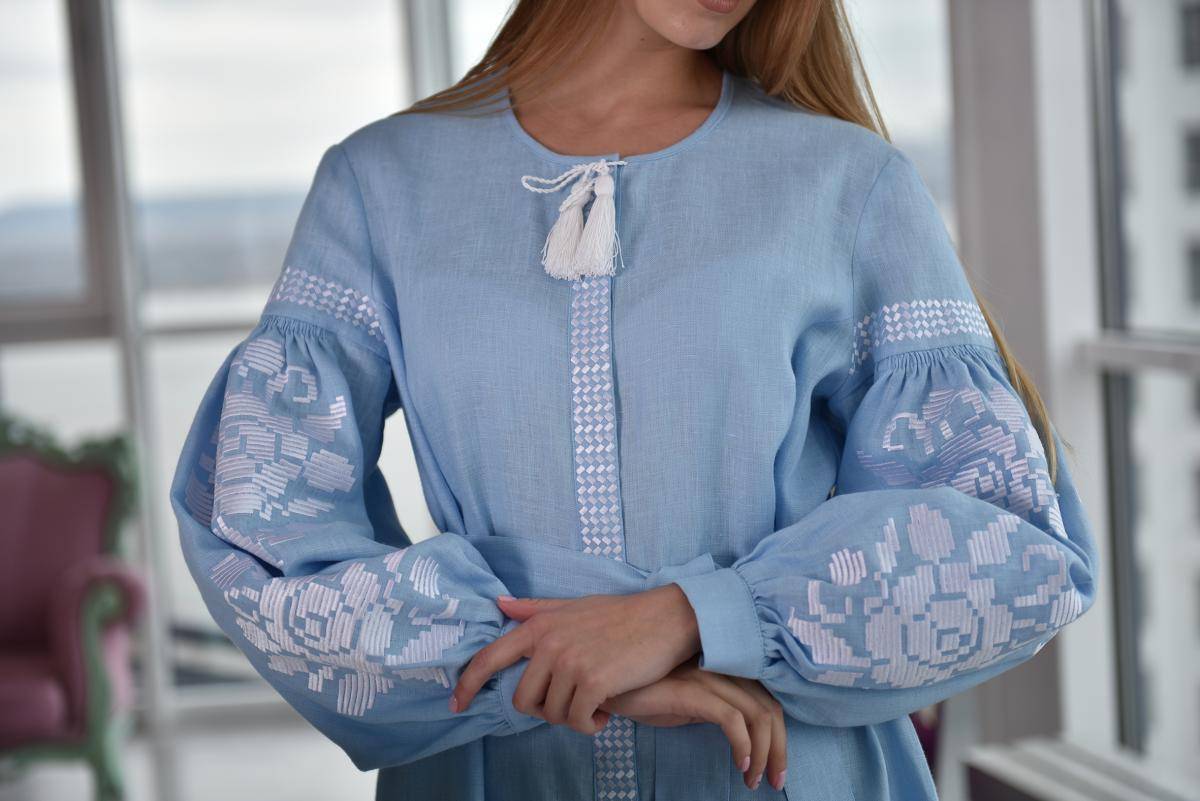Long blue dress with white embroidery. Photo №2. | Narodnyi dim Ukraine