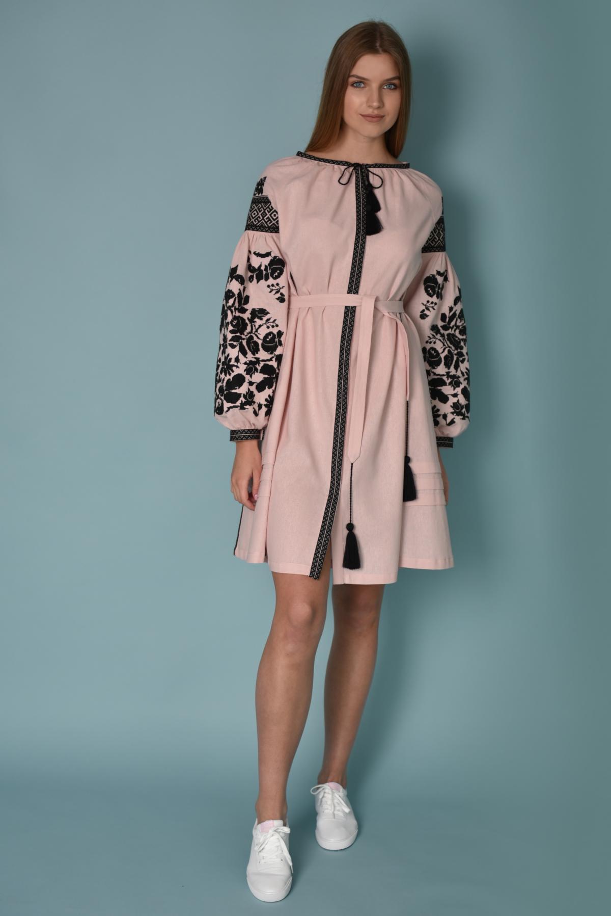 Pink embroidered dress with black embroidery. Photo №1. | Narodnyi dim Ukraine